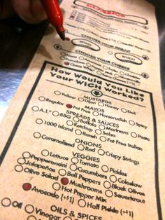 Which Wich sandwich shop. Great system for ordering where you write on the paper bags.