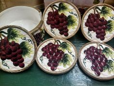 Grape 6 Piece Ceramic Coaster Set New In The Box By KK Matches Grape Collection #KK
