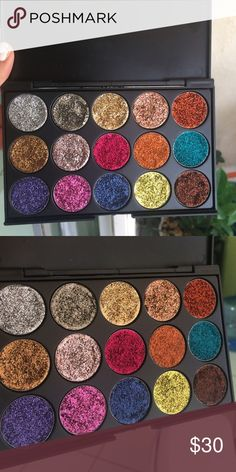 Pressed glitter palatte Brand new ! & handmade by me.  Stays & sticks on lid no glue needed. Smooth & blendable! Glitter injection dupe( price for 108$ a palette)  Handmade from costmetic grade polyester! Paraben & cruelty free! Ingredients : aloe Vera glycerin 91% alcohol essential oils  Any questions ask!  Let me know if u wanna custom a 15 palette pan for 30$! Thanks loves (: Makeup Eyeshadow