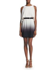 TBPQ6 Halston Heritage Cold-Shoulder Belted Flowy Dress, Oyster/Black