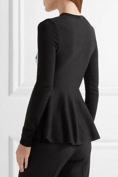 Oscar de la Renta - Guipure Lace-paneled Merino Wool Peplum Sweater - Black - x small