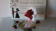www.bouquet-of-the . Bouquet of the bride fan + buttonhole for marriage. The bridal bouquet Wedding Car Decorations, White Feathers, White Ribbon, Red Roses, Wedding Bouquets, Marriage, Fancy, Bride, Flowers