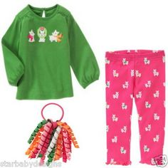NWT Gymboree 12-18 Months LOT TOP SHIRT LEGGINGS PANTS HAIR CHEERY ALL THE WAY