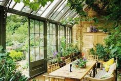 of a Room: Inside a Dreamy Conservatory Anatomy of a room: inside this dreamy cottage garden conservatory.Anatomy of a room: inside this dreamy cottage garden conservatory. Outdoor Rooms, Outdoor Gardens, Outdoor Living, Indoor Outdoor, Plants Indoor, Conservatory Garden, Conservatory Interiors, Conservatory Dining Room, Conservatory Design