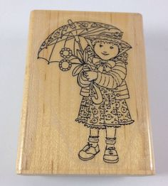 Cute Little Girl Flower Umbrella Wooden Rubber Stamp Cabana Art Designer Premium  | eBay
