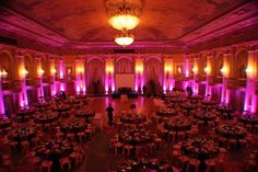 Stunning Purple & Amber Lighting at a Beautiful Wedding Reception.