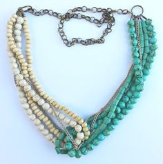 Hand made necklace made of semiprecious stones and wood.