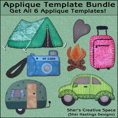 Template and instructions to make all six appliques. You can make the tent, camper, camera, car, campfire, suitcase. You will use fabric and other supplies to create these cute appliques. The photo(s) is simply an example of what the finished item could look like. Each applique