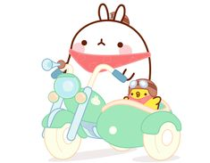 Molang and Piu Piu Sitting on A Tricycle BEST F-R-I-E-N-D-S!