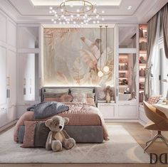 Discovered by Yᗩᑎᗩ. Find images and videos about beautiful, white and aesthetic on We Heart It - the app to get lost in what you love. Luxury Bedroom Design, Room Design Bedroom, Girl Bedroom Designs, Room Ideas Bedroom, Home Room Design, Home Bedroom, Modern Bedroom, Bedroom Decor, Luxury Kids Bedroom