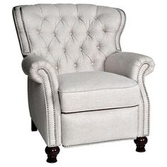Chic and stylish linen recliner with tufted back and nailhead trim--should please HIM and HER!