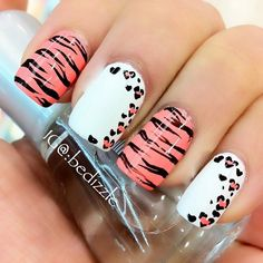 Simple Nail Art Designs That You Can Do Yourself – Your Beautiful Nails Get Nails, Fancy Nails, Love Nails, Pretty Nails, Hair And Nails, Zebra Nails, Pink Leopard Nails, Aztec Nails, Chevron Nails