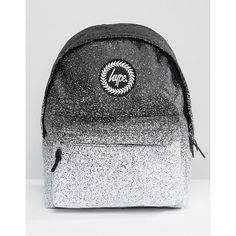 Hype Monochrome Speckle Fade Backpack (125 RON) ❤ liked on Polyvore featuring bags, backpacks, multi, galaxy backpack, cat backpack, galaxy rucksack, polyester backpack and zip top bag
