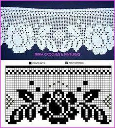 Bico de crochê Home Decor home decor paintings Filet Crochet, Crochet Lace Edging, Crochet Borders, Crochet Diagram, Crochet Trim, Love Crochet, Irish Crochet, Crochet Doilies, Crochet Flowers