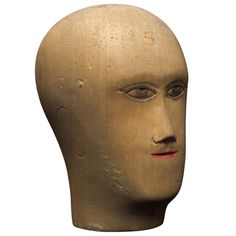 Wooden Mannequin / Hat Display Head   From a unique collection of antique and modern models and miniatures at https://www.1stdibs.com/furniture/more-furniture-collectibles/models-miniatures/