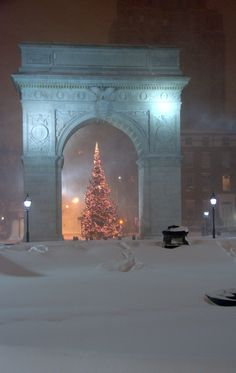 Christmas Tree and Arch portrait from the center of Washington Sq park, New York City  in snow
