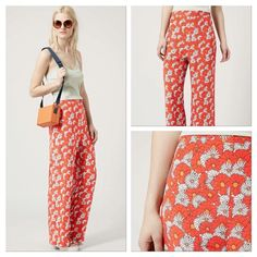 """NWT Top Shop Wide Leg Flower Power Pants HPx2 These are a fab pair of TopShop groovy flower power pattern 70's style wide leg pants! Size US 10! Waist 34"""" (17"""" flat), Length from waist to bottom hem 31"""" and 29"""" inseam, Rise is 14"""" high rise. Topshop Pants Wide Leg"""