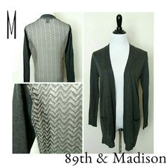 "Cardigan 89th &  Madison boyfriend cardigan with a feminine twist. Charcoal gray, fine gauge knit front. Open closure. Patch pockets. Back is sheer chevron fabric.  EUC. Size medium 20"" chest 28"" long Sweaters Cardigans"