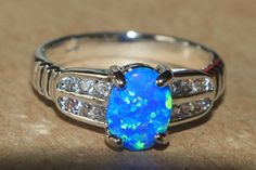 blue fire opal Cz ring Gemstone silver jewelry Sz 6.5 chic modern engagement 1MA