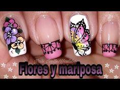 Decoración de uñas flores y mariposa/uñas decoradas con flores y mariposa - YouTube