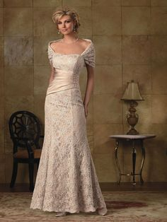 Wedding Dress / Bridal Gown for the older bride, Jordan collection high couture ~ gorgeous. Mother Of Groom Dresses, Bride Groom Dress, Mothers Dresses, Mother Of The Bride, Mature Bride Dresses, Gorgeous Wedding Dress, Beautiful Gowns, Beige Wedding Dress, Mob Dresses