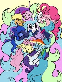 Celestia, Luna, Cadence and Mane 6 My Little Pony Cartoon, Hasbro My Little Pony, My Little Pony Drawing, Princesa Celestia, Celestia And Luna, Tiny Horses, My Little Pony Wallpaper, Little Poni, Mlp Fan Art