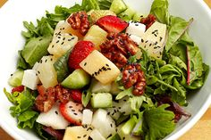 7 Tops Strawberry Recipes You'll Love #refinery29  http://www.refinery29.com/strawberry-recipes#slide1  Chef Kimmy Tang Of 9021Pho's Summer SaladFor Salad: 3 strawberries 1/2 green apple 1/4 cup of fresh pineapple 1/2 Asian pear 1/2 medium-sized cucumber, diced 1/4 cup honey roasted walnuts 1/3 cup mixed greensFor Tamarind Dressing 2 oz tamarind paste  2 oz lemon juice  3 oz agave or honey 1/16 tsp minced garlic 1/16 tsp chili  1/8 tsp salt  Combine all ingredients, and mix well.