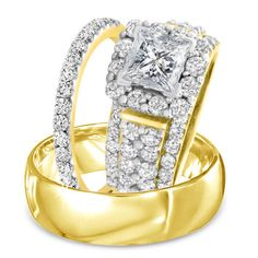 Princess Cut Sim.Diamond 14Kt Yellow Gold Gp 925 Silver Trio Engagement Ring Set