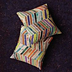 Kantha Chevron Pillows from West Elm.. looks like a good scrap fabric project!