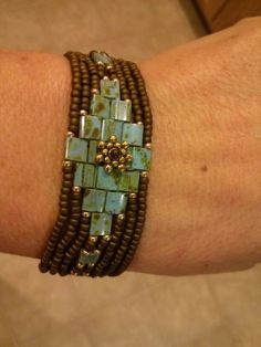 Tila bead bracelet. (Look for a tutorial on YouTube)