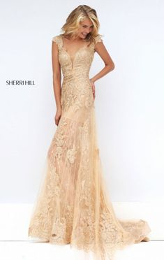 2016 V-Neck Nude/Gold Beaded Sherri Hill 50176 Lace Appliques Long Prom Dresses