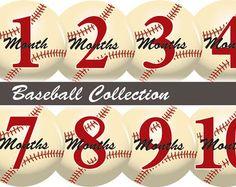Free Printable Baby 8 month Milestone Stickers | Printable Baseball Monthly Baby Stickers. Free Newborn Sticker Designs ...
