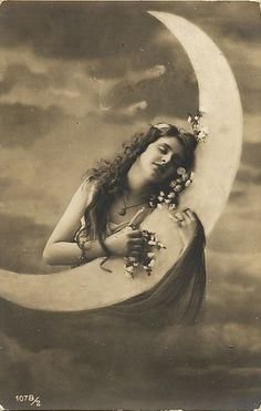 In Love with the Moon vintage postcard