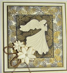 2016 Christmas Angel with stamped filigree poinsettia background. Love this card.