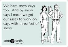 Hospital snow days policy ecard humor photo