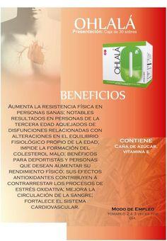 OHLALA, CAJA 30 SOBRES 360 GRS Contiene:• Extracto de cera de caña con policosanoles, vitamina E. • Sabor vainilla francesa.