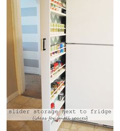 Slider Storage Next To Your Refrigerator - DIY Small Apartment Organization Ideas - Click for 18 Small Space Tips