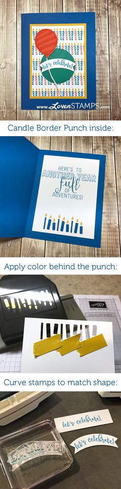 LovenStamps: Balloon Adventures stamp set with tips for using the Candle Border Punch and creating custom stamp shapes