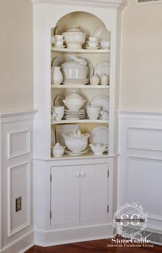 I've started to appreciate the value of a corner cupboard, you guys - it saves a lot of space and every little bit helps. Living Room Corner Decor, Corner China Cabinets, Corner Cupboard, Corner Hutch, White Cupboards, Bedroom Cupboard Designs, Home Kitchens, Cottage Kitchens, Modern Kitchens