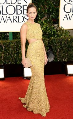 Emily Blunt in a gold cut-out Michael Kors gown at the 2013 Golden Globe Awards