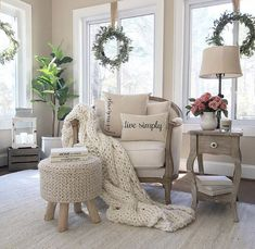Accent Chairs For Living Room, New Living Room, Living Room Decor, Farmhouse Chairs, Farmhouse Style, Comfortable Living Rooms, Chair Design, Family Room, House Styles