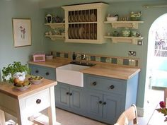 Cabinet Combo Grayish Blue Bottom Counters Light Colored Cement Counter Tops And On Top