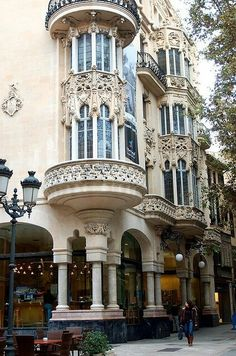 Art-Nouveau architecture in Palma de Mallorca, Spain; love this kind of architecture:) Architecture Antique, Architecture Classique, Architecture Design, Architecture Art Nouveau, Beautiful Architecture, Beautiful Buildings, Facade Design, Paris Architecture, French Architecture