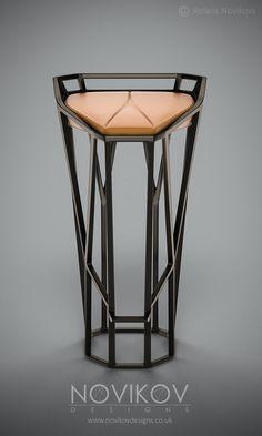 Octa Stool - Dark brown metallic frame with orange leather seat by Novikov Designs www.novikovdesigns.co.uk