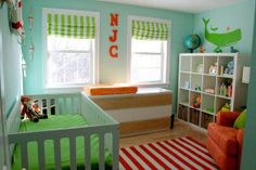 Take a look at the appearance of Noah& kindergarten at Apartment Therapy: w Baby Bedroom, Baby Boy Rooms, Baby Boy Nurseries, Nursery Room, Kids Rooms, Sea Nursery, Play Rooms, Themed Nursery, Kids Bedroom