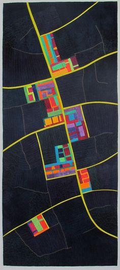 The Night Road by Alicia Merrett - Art Quilt (Festival of Quilts Quilt Festival, Imaginary Maps, Map Quilt, Creation Art, Quilt Modernen, Landscape Quilts, Contemporary Quilts, Mini Quilts, Map Art