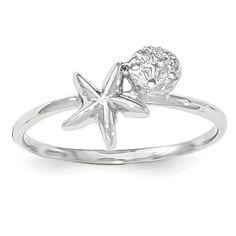 14k White Gold Polished Starfish & Sand Dollar Ring K5757