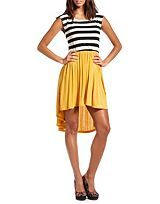 New and Wow!- Striped on Top Hi-Low Dress