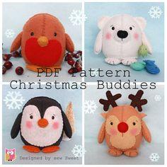 Christmas Buddies pdf pattern, instant download, sewing pattern, diy, sew your own, robin, polar bear, rudolph, plushy, sew sweet