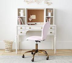cute hardware and corkboard -Zoey Storage Desk, Antique Blue Bookshelf Desk, Desk Hutch, Baby Furniture, Furniture Design, Upholstered Desk Chair, Teen Desk, Cabinet Door Styles, Desk Storage, Desk Organization